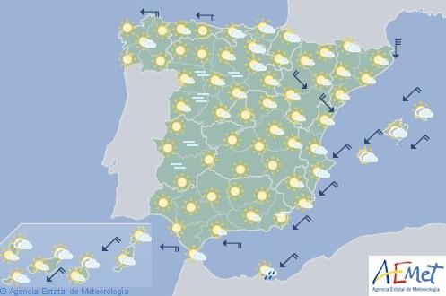 Hoy en España intervalos de viento fuerte en Pirineos y Baleares y heladas en el interior