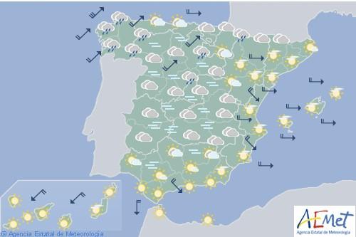 Hoy en España predominio de cielo nuboso con precipitaciones en el noroeste