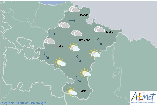 Nuboso con lluvias en Navarra, la cota de nieve subiendo a 1.100 metros