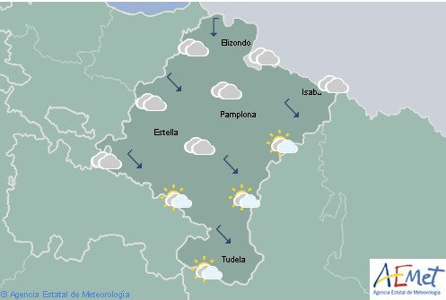 En Navarra nuboso tendiendo a intervalos de nubes altas con temperaturas máximas en aumento