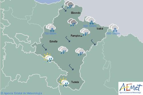 En Navarra cubierto con precipitaciones y nieve por encima de los 700-1000 metros