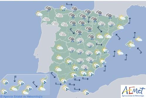 Hoy en España nevadas persistentes en montañas y precipitaciones fuertes en litorales cantábrico oriental, catalán y andaluz