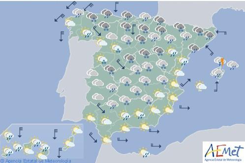 Hoy en España nevadas en el interior y centro, con precipitaciones fuertes en Cataluña
