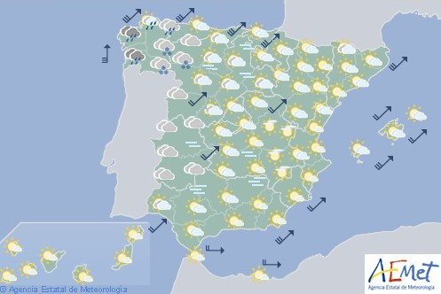 Hoy en España, heladas en Pirineos, Sistema Central e Ibérico y lluvias en Andalucía