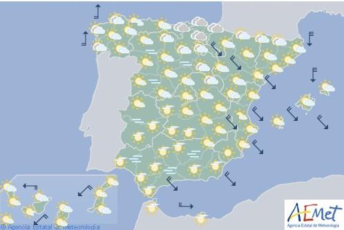 Hoy en España, tiempo estable y sin precipitaciones en la mayor parte del país