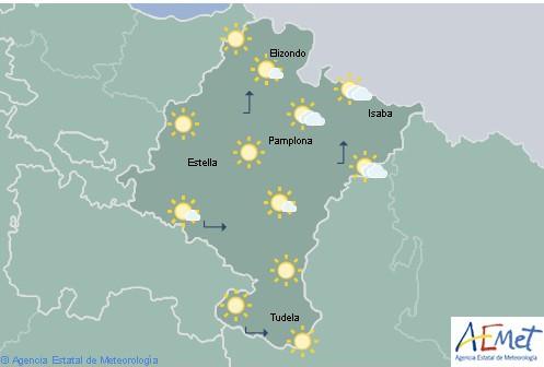 En Navarra poco nubosos o despejado, temperaturas máximas sin cambios