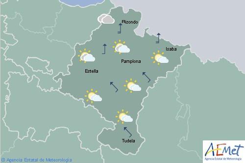 En Navarra descenso de temperaturas, cielo tendiendo a nuboso con lluvias que se extenderán a la Ribera