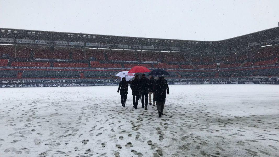 Suspendido por la nieve el partido entre Osasuna y el Valladolid