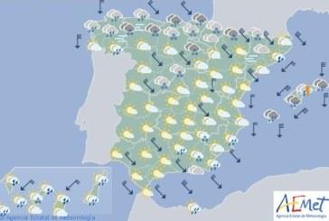 Hoy en España, lluvias fuertes en Cantábrico y Baleares, y temperaturas en descenso