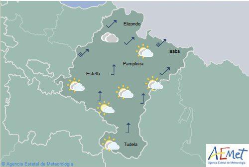 Hoy en Navarra lluvias y aumento de las temperaturas máximas