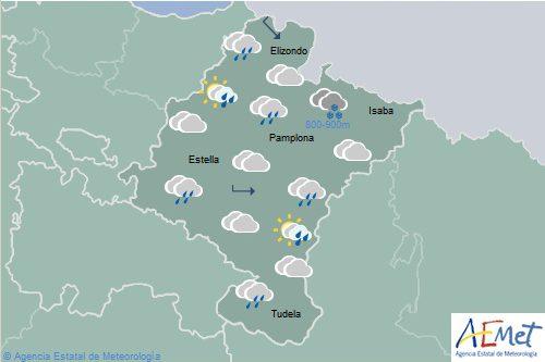 En Navarra cubierto con chubascos débiles, temperaturas en descenso