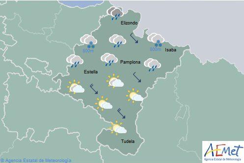 El tiempo hoy en Navarra, con la cota de nieve bajando a 400 metros