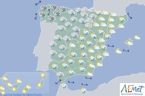 Hoy en España, lluvias fuertes y viento en el litoral gallego