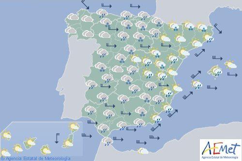 Hoy en España, precipitaciones localmente persistentes y nieve en zonas de mantaña