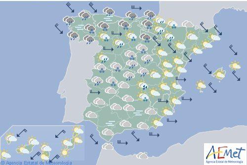 Hoy, nevadas en cotas bajas con precipitaciones y viento en casi todo España