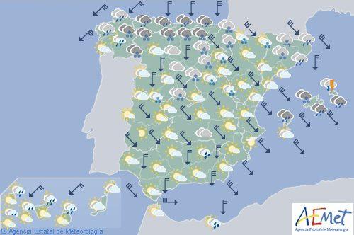 Hoy en España, precipitaciones en Cantábrico, Menorca y Mallorca, nevadas en cotas bajas