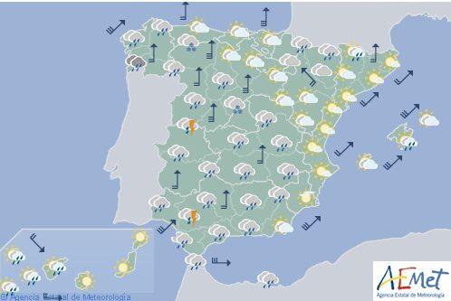 Hoy en España, nuboso con precipitaciones, menos probables en el este y Baleares
