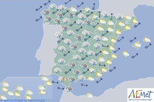 Cielos muy nubosos o cubiertos con precipitaciones generalizadasen la mayor parte de España