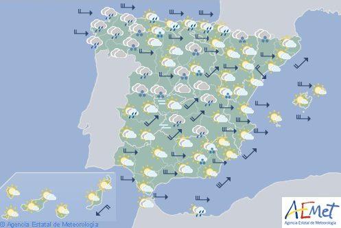 Hoy en España, viento muy fuerte en mitad oriental, islas y litoral norte con oleaje