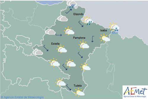 El tiempo hoy en Navarra, con precipitaciones y temperaturas máximas en aumento