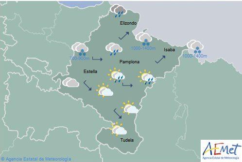 Lluvias y chubascos en el norte y vertiente cantábrica de Navarra