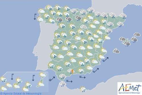 Hoy en España, nuboso con precipitaciones fuertes en localidades de Cadiz, Málaga y Cataluña