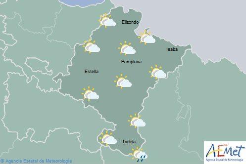 Cielo nuboso con lluvia débil y dispersa en Navarra