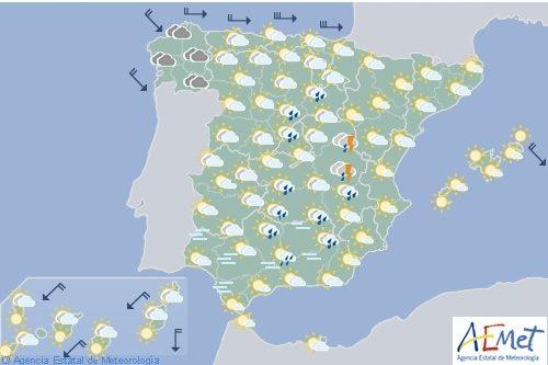 Hoy en España, tormentas en el interior este peninsular y nevadas en el noroeste