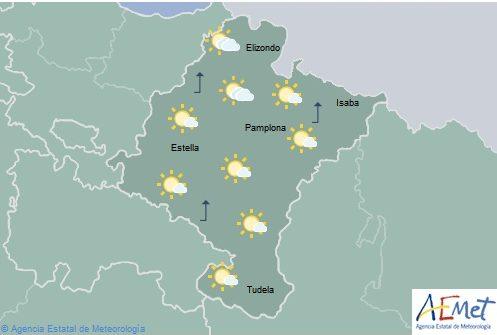 Hoy en Navarra poco nuboso con lluvias débiles por la tarde en la Vertiente Catábrica