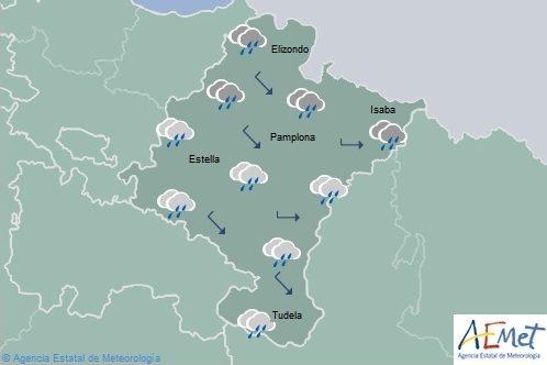 En Navarra permanecerá cubierto con precipitaciones persistentes en el noroeste