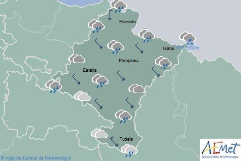 Nuboso con precipitaciones generalizadas en Navarra