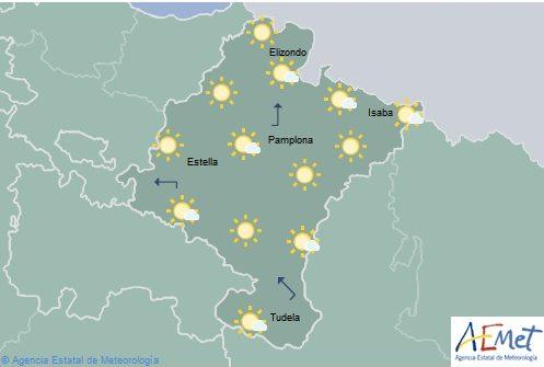En Navarra, despejado con intervalos de nubes de evolución temperaturas máximas en descenso