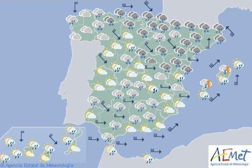 Hoy en España, nevadas en la mitad este peninsular y temperaturas en aumento en el centro