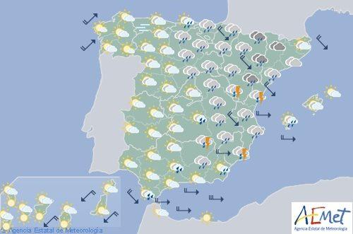 Muy nuboso hoy en el este y Baleares y soleado en el resto de España