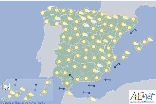 Hoy en España, tiempo estable con vientos fuertes en Estrecho e interior de Cádiz