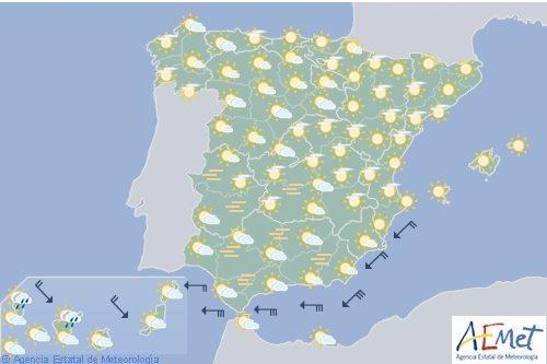 Hoy en España, cielo nuboso en el suroeste, viento en el Estrecho y Cádiz