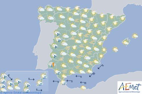 Calimas en gran parte de España con tormentas en Andalucía occidental y Extremadura