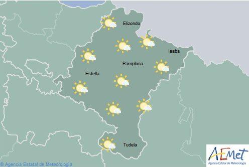 Poco nuboso en Navarra con tormentas aisladas al final del día