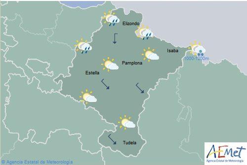 En Navarra el cielo aumentará a nuboso con lluvias y chubascos