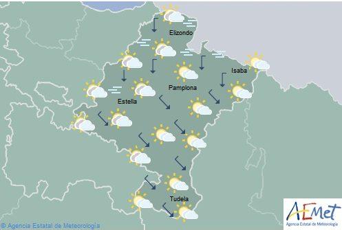 En Navarra, cielo nuboso tendiendo a remitir, temperaturas en aumento