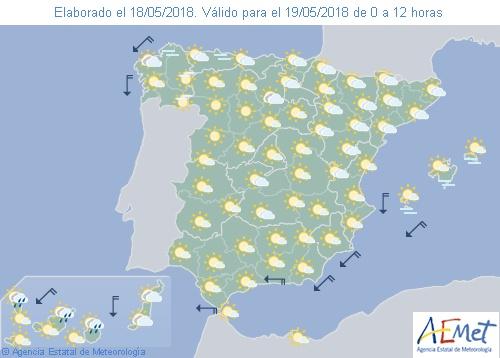 Hoy en España, chubascos en sistemas Central e Ibérico, Andalucía, Aragón y Cataluña