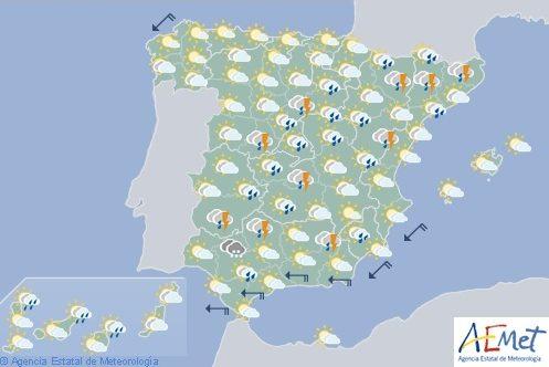 Hoy en España, chubascos y tormentas en los sistemas Central, temperaturas sin cambios