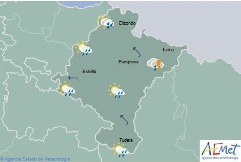 En Navarra tormentas y chubascos localmente con granizo