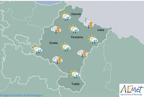 En Navarra chubascos y tormentas