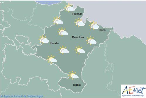 En Navarra cielo nuboso con lluvias y chubascos