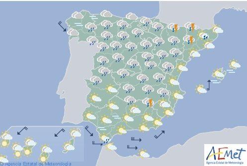Hoy en España chubascos y tormentas, fuertes en el interior de la mitad norte y este