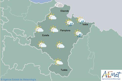En Navarra cielo nuboso con chubascos generalizados por la tarde