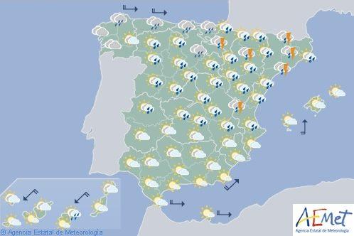 Hoy en España, la inestabilidad se limitará hoy al noreste y cederán las tormentas