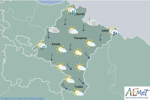 En Navarra nubosidad de evolución y chubascos dispersos