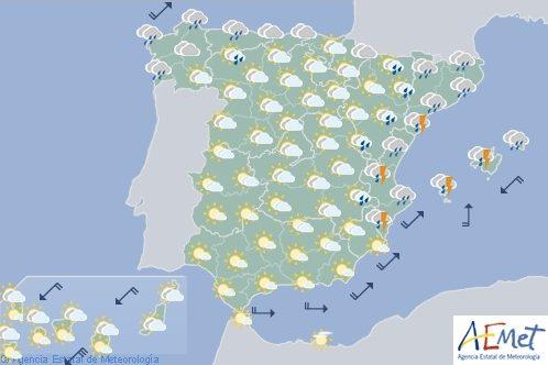 Hoy en España, tormentas localmente fuerte en Valencia, Baleares y Cataluña